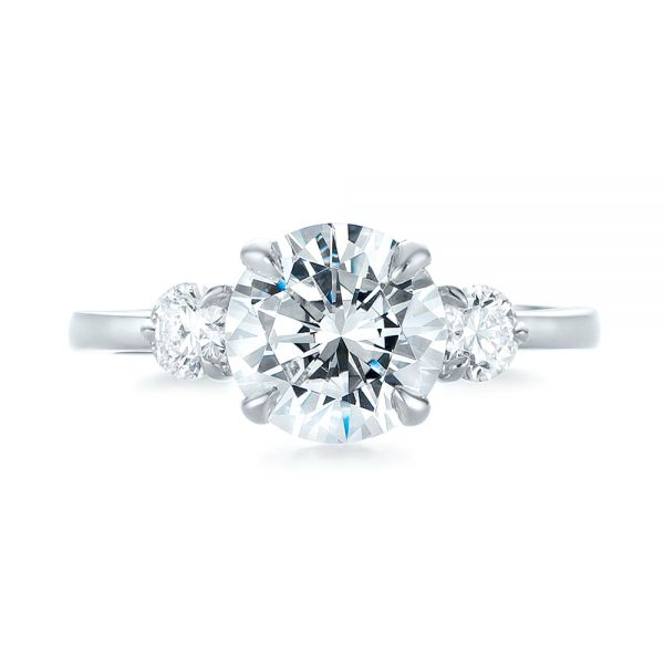 Three-stone Diamond Engagement Ring - Top View -  104169 - Thumbnail