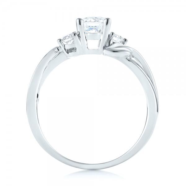 Three-stone Diamond Engagement Ring - Finger Through View