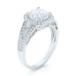 Three-stone Halo Diamond Engagement Ring