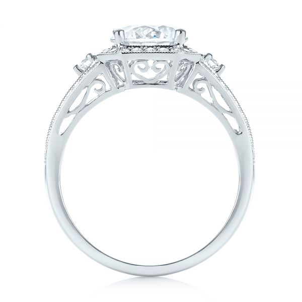 Three-stone Halo Diamond Engagement Ring - Front View -  103051 - Thumbnail