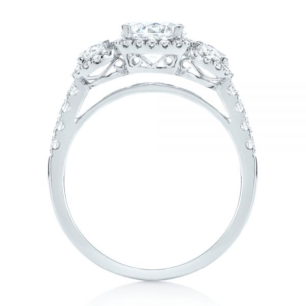 18k White Gold Three-stone Halo Diamond Engagement Ring - Front View -