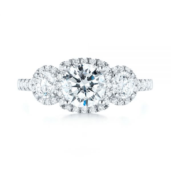 18k White Gold Three-stone Halo Diamond Engagement Ring - Top View -