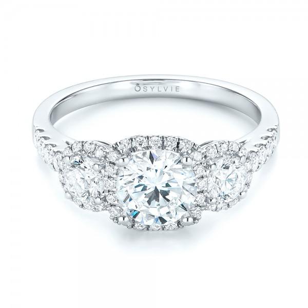 Three-stone Halo Diamond Engagement Ring - Laying View