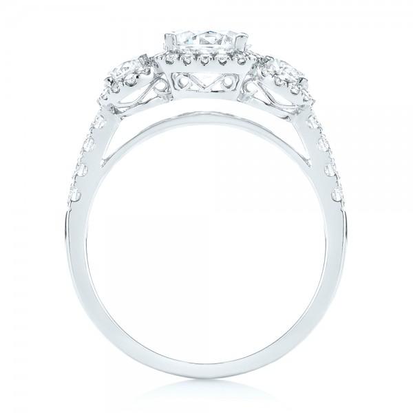 Three-stone Halo Diamond Engagement Ring - Finger Through View