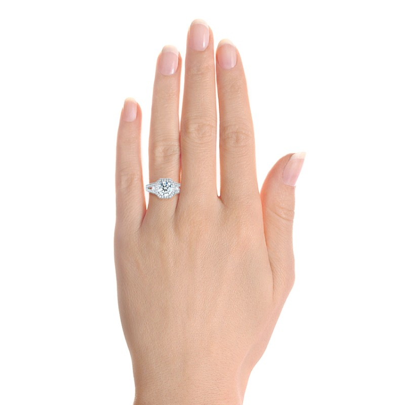 Three-stone Halo Diamond Engagement Ring - Hand View -  103051 - Thumbnail