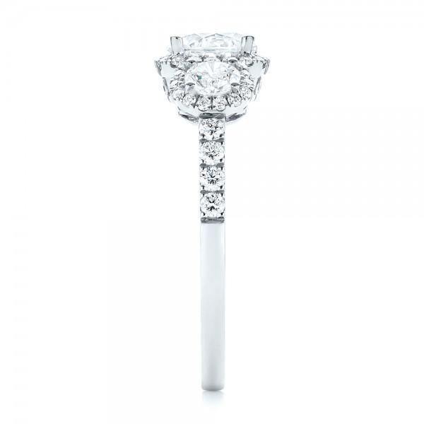 Three-stone Halo Diamond Engagement Ring - Side View