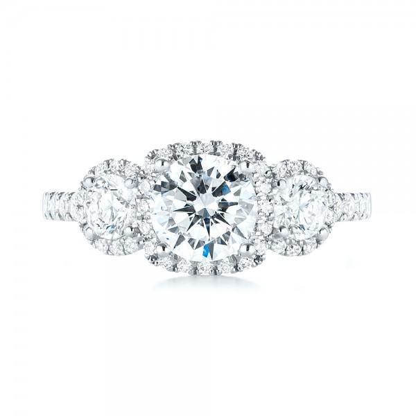 Three-stone Halo Diamond Engagement Ring - Top View