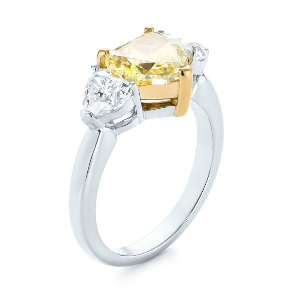Three-stone Heart Diamond Engagement Ring - Image
