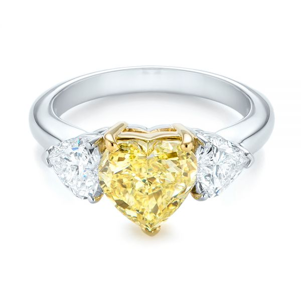 Three-stone Heart Diamond Engagement Ring - Flat View -  104139 - Thumbnail