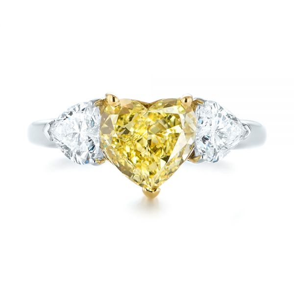Three-stone Heart Diamond Engagement Ring - Top View -  104139 - Thumbnail