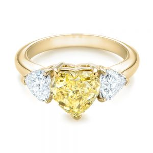 Three-stone Heart Diamond Engagement Ring