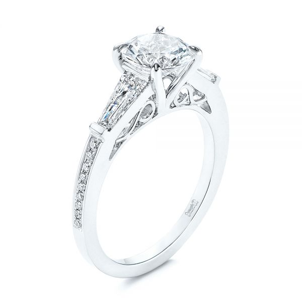 Three-stone Tapered Baguette Diamond Engagement Ring - Image