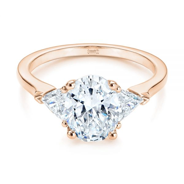 18k Rose Gold 18k Rose Gold Three-stone Trillion And Oval Diamond Engagement Ring - Flat View -  105800