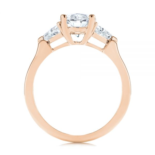18k Rose Gold 18k Rose Gold Three-stone Trillion And Oval Diamond Engagement Ring - Front View -  105800