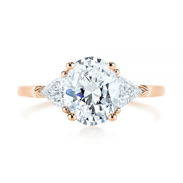 18k Rose Gold 18k Rose Gold Three-stone Trillion And Oval Diamond Engagement Ring - Top View -  105800