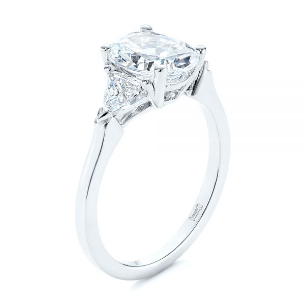 18k White Gold Three-stone Trillion And Oval Diamond Engagement Ring - Three-Quarter View -  105800