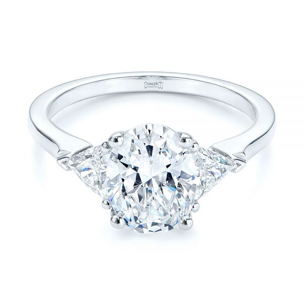 18k White Gold Three-stone Trillion And Oval Diamond Engagement Ring - Flat View -  105800