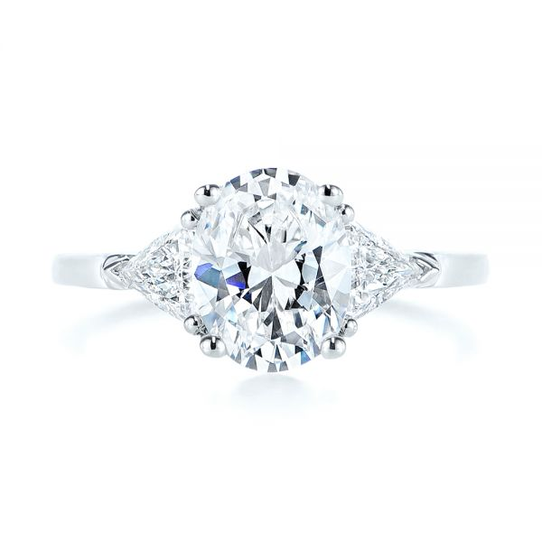 18k White Gold Three-stone Trillion And Oval Diamond Engagement Ring - Top View -  105800