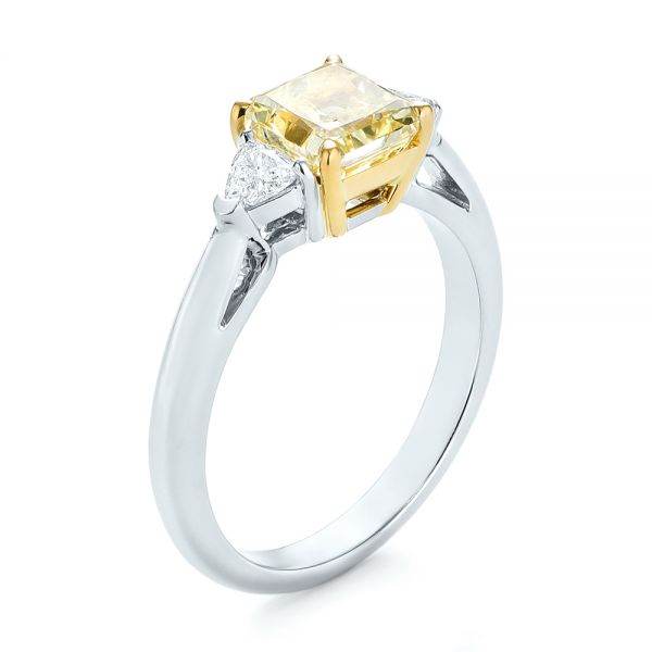 Three-stone Yellow and White Diamond Engagement Ring - Image