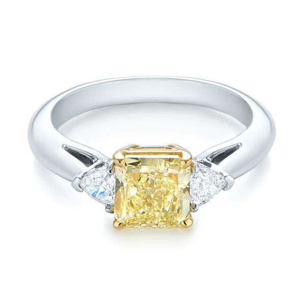 Three-stone Yellow And White Diamond Engagement Ring - Flat View -