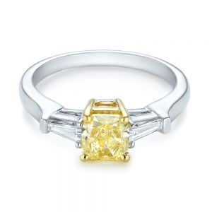 Three-stone Yellow and White Diamond Engagement Ring