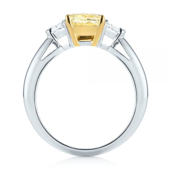 Three-stone Yellow And White Diamond Engagement Ring - Front View -
