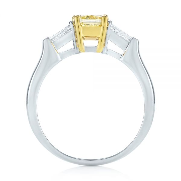 Three-stone Yellow And White Diamond Engagement Ring - Front View -  104136