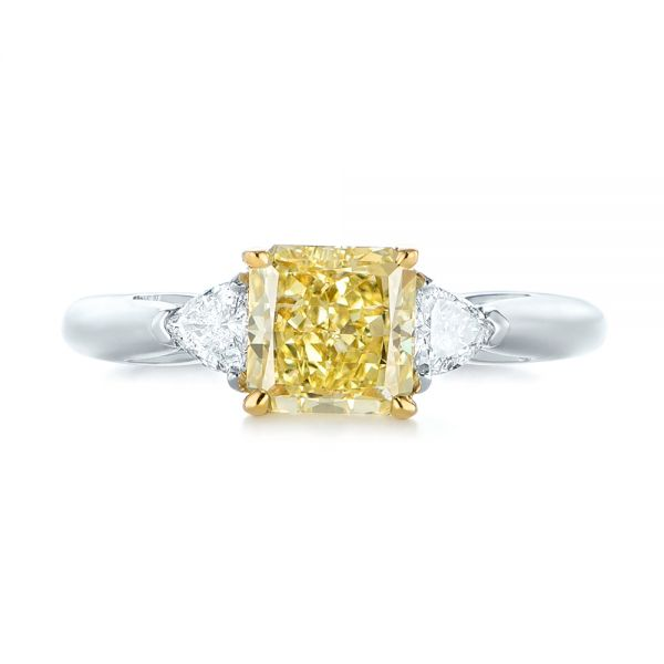 Three-stone Yellow And White Diamond Engagement Ring - Top View -