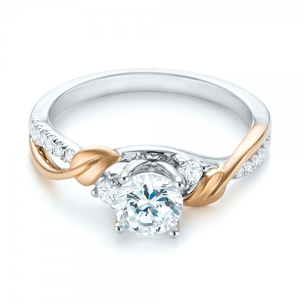 Three-Stone Two-Tone Diamond Engagement Ring - Laying View