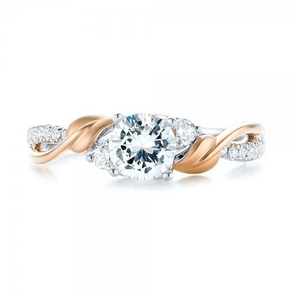 Three-Stone Two-Tone Diamond Engagement Ring - Top View