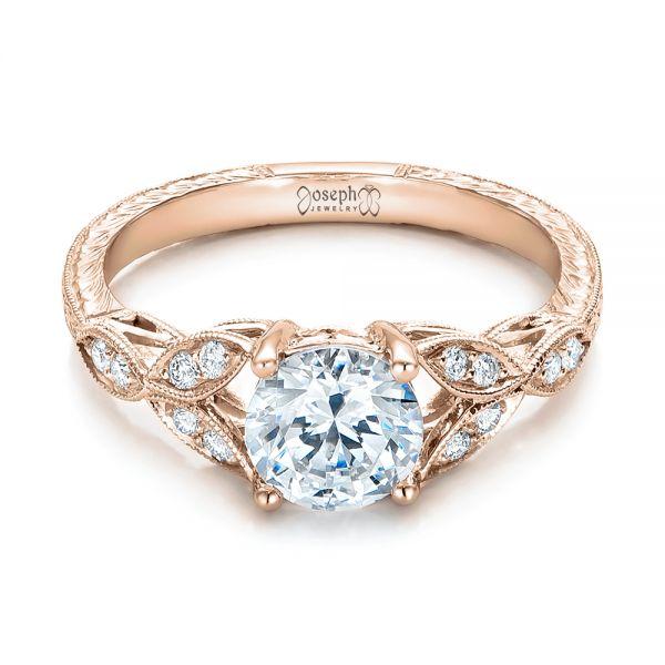 14k Rose Gold Tri Leaf Diamond Engagement Ring 101989 Seattle Bellevue Joseph Jewelry