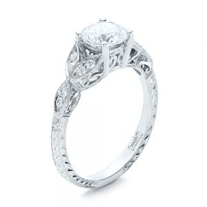 Tri-Leaf Diamond Engagement Ring - Image