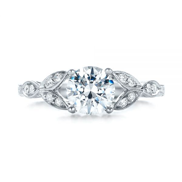 Tri-Leaf Diamond Engagement Ring - Top View -  101989 - Thumbnail