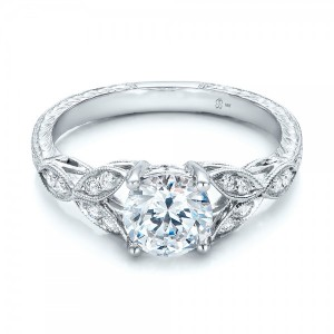 Tri-Leaf Diamond Engagement Ring