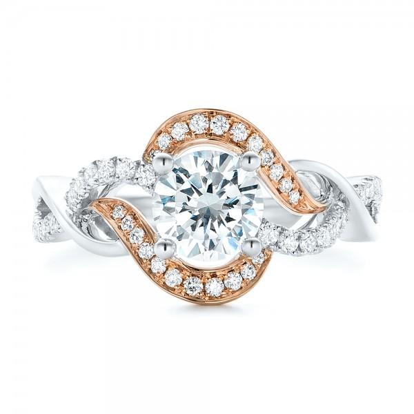 Twist Diamond Engagement Ring - Top View