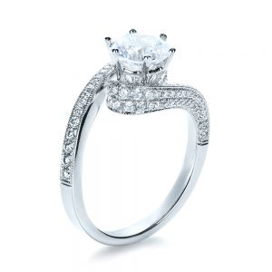 Twisting Shank Diamond Engagement Ring - Vanna K - Image