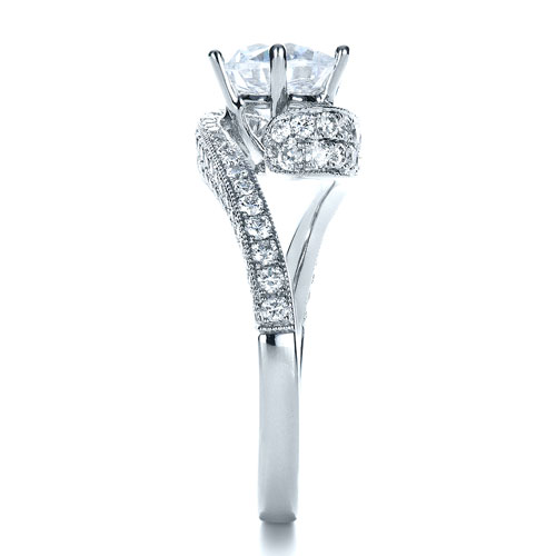 Twisting Shank Diamond Engagement Ring - Vanna K - Side View