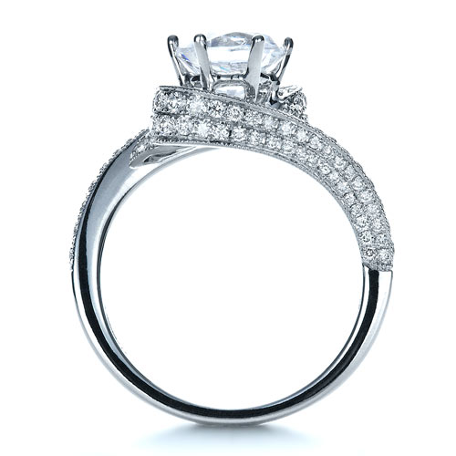 Twisting Shank Diamond Engagement Ring - Vanna K - Finger Through View