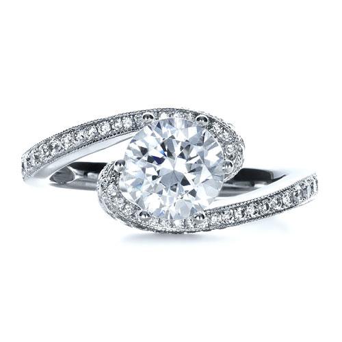 Twisting Shank Diamond Engagement Ring - Vanna K - Top View