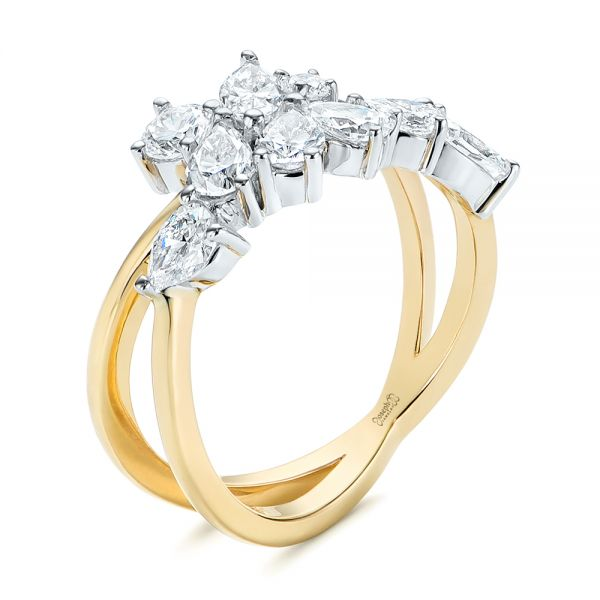 14k Yellow Gold Two-tone Cluster Diamond Ring - Three-Quarter View -