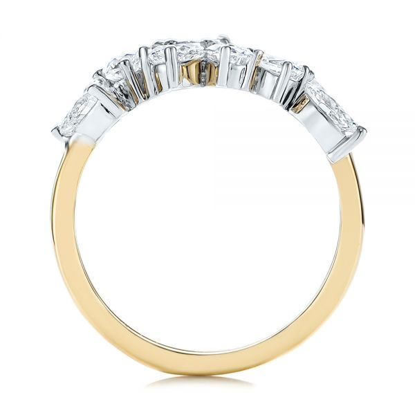 14k Yellow Gold Two-tone Cluster Diamond Ring - Front View -  105214 - Thumbnail