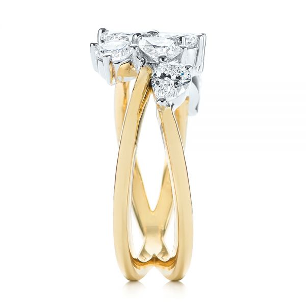14k Yellow Gold Two-tone Cluster Diamond Ring - Side View -  105214 - Thumbnail