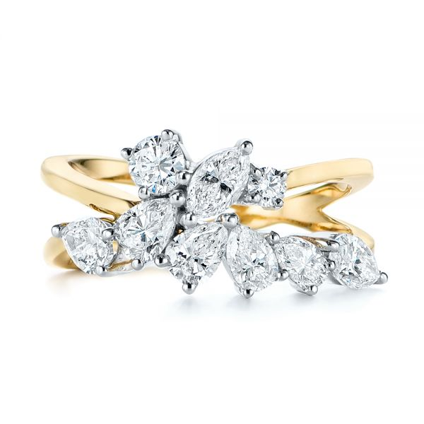 14k Yellow Gold Two-tone Cluster Diamond Ring - Top View -  105214 - Thumbnail