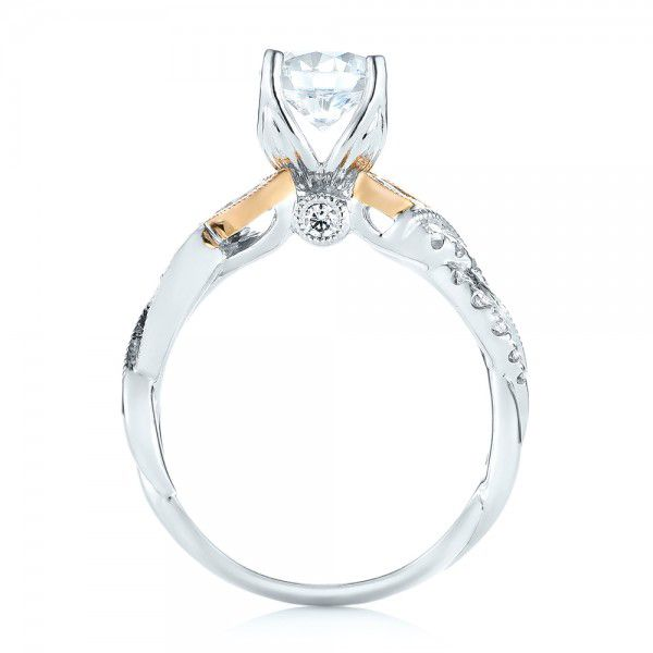 18k White Gold And 18K Gold Two-tone Diamond Band Engagement Ring - Front View -