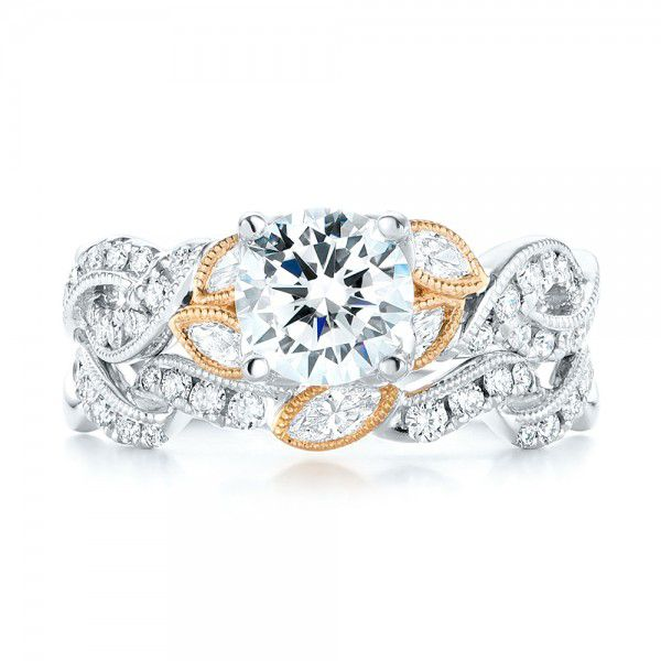 Two-Tone Diamond Band Engagement Ring - Image