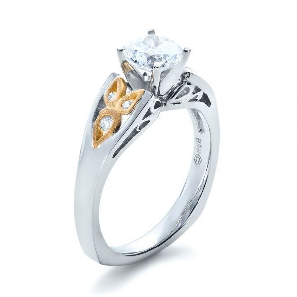 14k White Gold And 18K Gold Two-tone Diamond Engagement Ring - Three-Quarter View -
