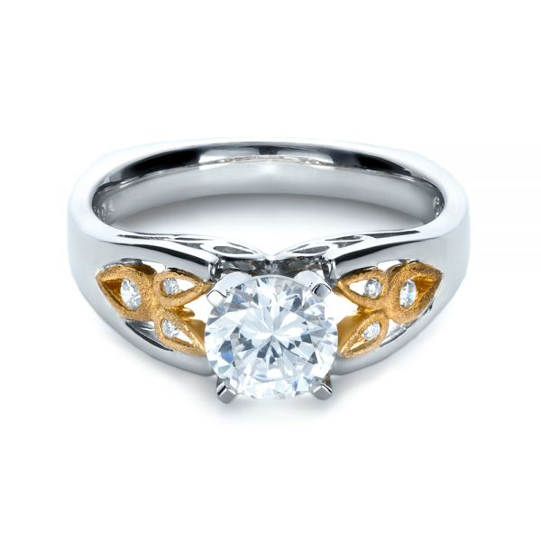 14k White Gold And 18K Gold Two-tone Diamond Engagement Ring - Flat View -