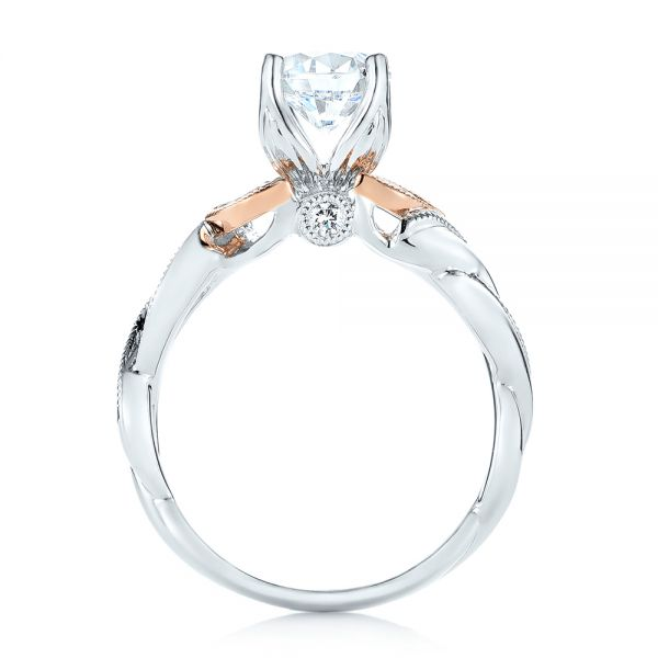 18k White Gold And 18K Gold Two-tone Diamond Engagement Ring - Front View -