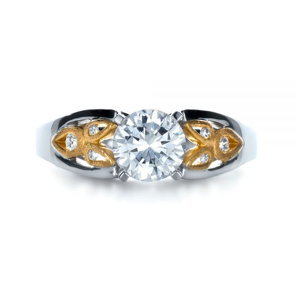 14k White Gold And 18K Gold Two-tone Diamond Engagement Ring - Top View -