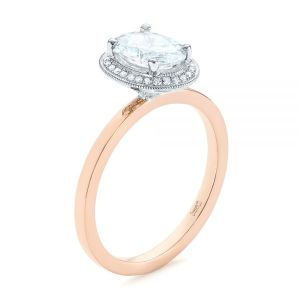 Two-Tone Diamond Petite Halo Engagement Ring - Image